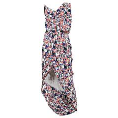 Balenciaga Multicolor Print Drape Dress 2010