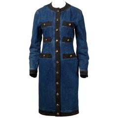 Moschino 1990s Vintage Black + Blue Denim Jeans Dress