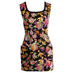"Mila Schon Vintage 1990s Novelty Silk ""Tropical Fish"" Print Mini Dress"