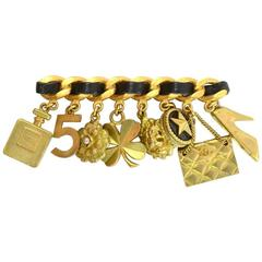 Chanel Vintage 1994 Goldtone Leather and Charm Brooch