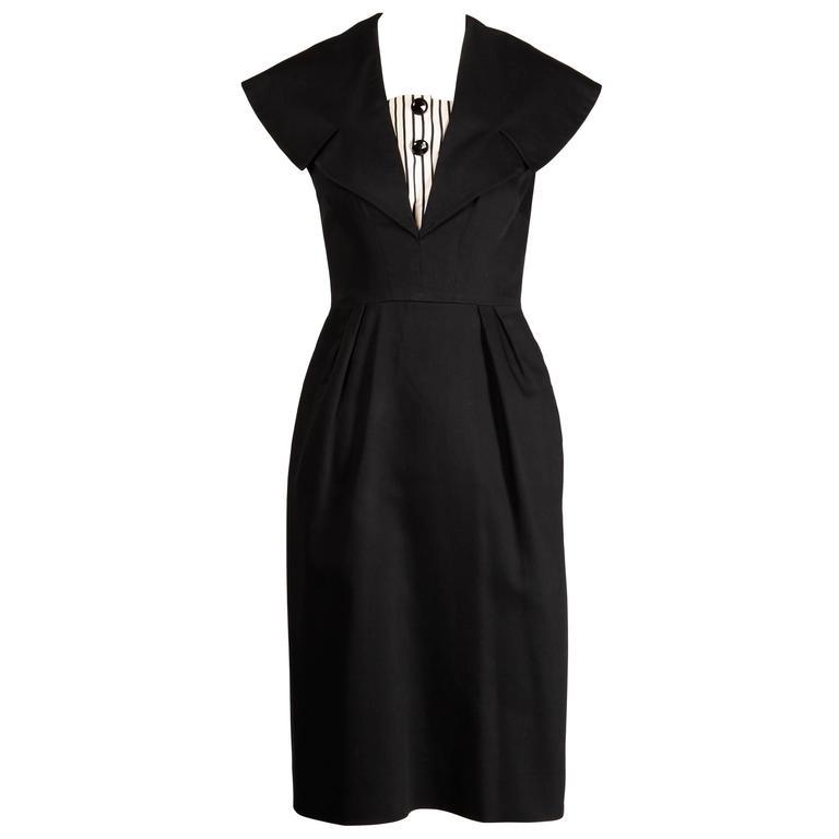1950s Mam'selle by Betty Carol Vintage Black Striped Tuxedo Wiggle Dress