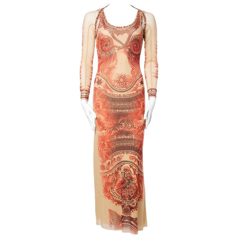 Jean Paul Gaultier Tattoo Print Dress & Bolero