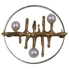 Modernist Gold Brooch