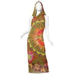 Backless Jean Paul Gaultier Tropical Tribal Feather Print Dress