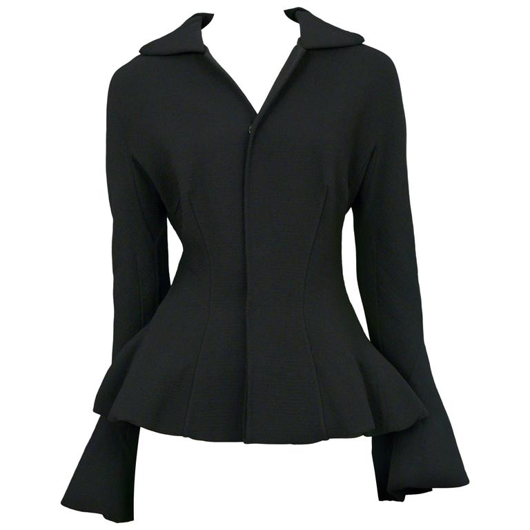 Yohji Black Bell Sleeve Jacket For Sale