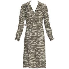 Adele Simpson Metallic Button Front Shift Dress, Circa 1970's