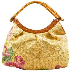 Gucci Tan Raffia Bamboo Limited Edition Floral Copper Tone Stud Tote Bag