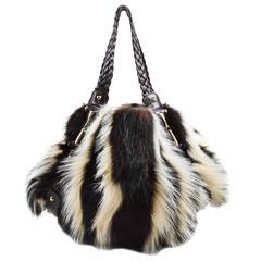 """Gucci Brown White Fitch Fur Leather Limited Edition """"Pelham Medium"""" Bag"""