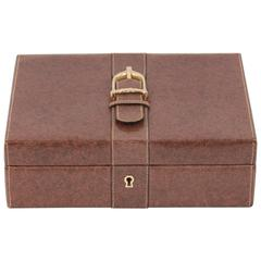 GUCCI VINTAGE Brown Leather BOX JEWELRY CASE w/ STIRRUP Detail HOME DECOR