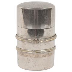 GUCCI VINTAGE Silver metal Cylinder CIGARETTE CASE Box HOLDER