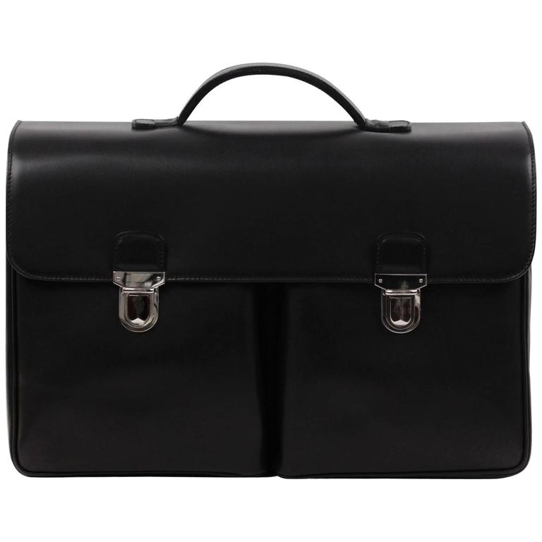BATTISTONI Black Leather LARGE BRIEFCASE Handbag WORK Business BAG