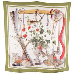 HERMES PARIS Vintage Silk Scarf FLEURS & GIBIERS De Linares 1962