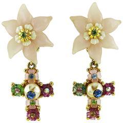 Christian Lacroix Vintage Jewelled Flower Cross Dangling Earrings