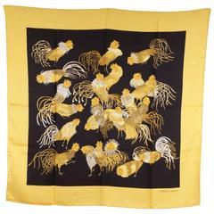 HERMES PARIS Vintage Silk Scarf JEUNES COQS Madame La Torre 1966 Yellow/Blue
