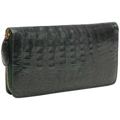 Nancy Gonzalez Hunter Green Crocodile Zip Wallet