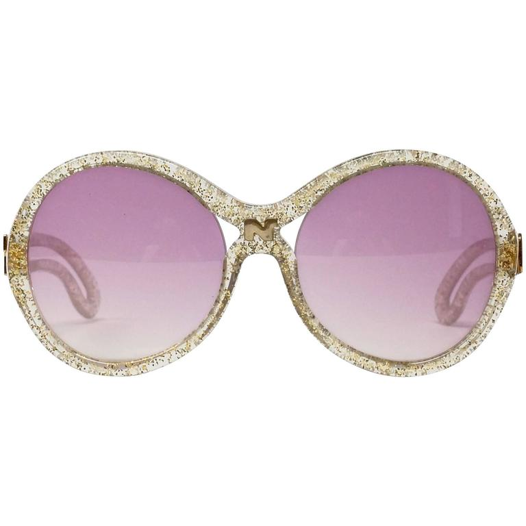 1970s Nina Ricci Gold and Glitter Sunglasses  1