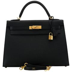 Hermes Kelly Bag 32 cm Epsom Leather Sellier 89 Black Color GHW 2016
