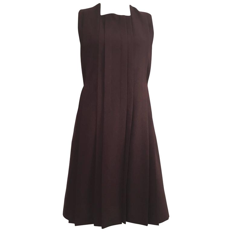 Cacharel Burgundy Sleeveless Pleated Dress Size 8.
