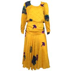 Flora Kung Golden Yellow Floral Silk Dress Size 8.
