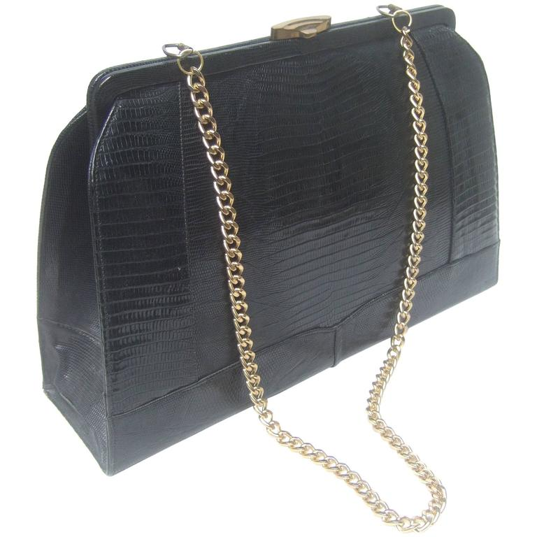 Sleek Ebony Lizard Skin Structured Handbag c 1960 1