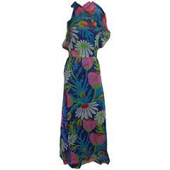 Givenchy Multi Color Silk Organza Floral Halter w/ Ruffle - 38 Circa 70's