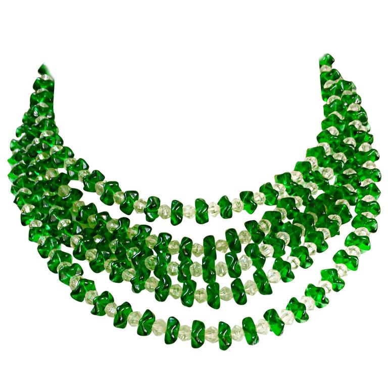 Vintage Signed Lisner 1960s Emerald Green + Clear Lucite 60s Waterfall Necklace  For Sale