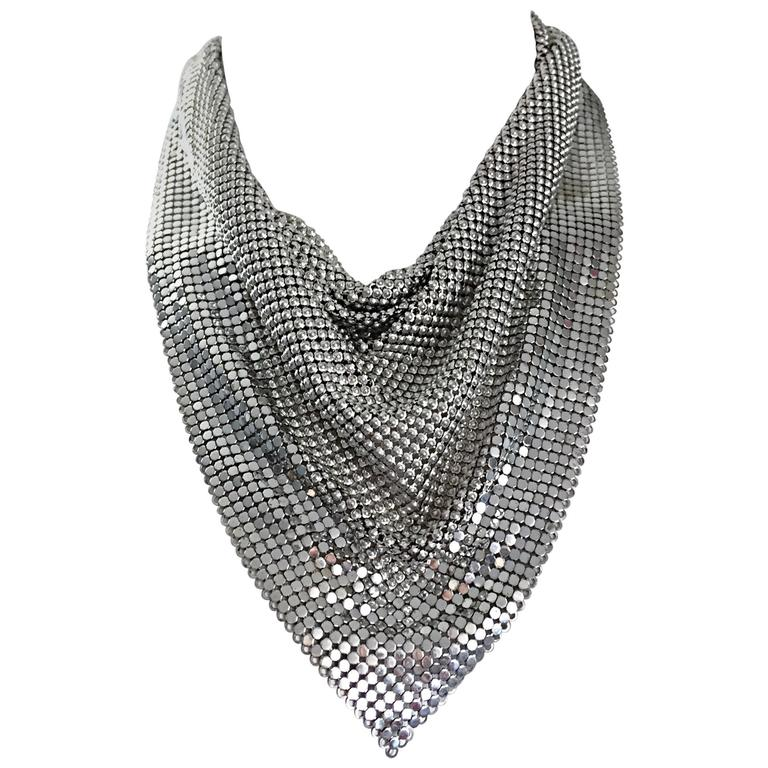 Vintage Whiting and Davis 1970s Silver Chainmail 70s Metal Disco Bib Necklace  1