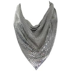 Vintage Whiting and Davis 1970s Silver Chainmail 70s Metal Disco Bib Necklace