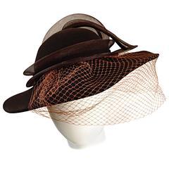 Avant Garde Vintage Bollman Brown Wool Hat w/ Net and Rhinestone