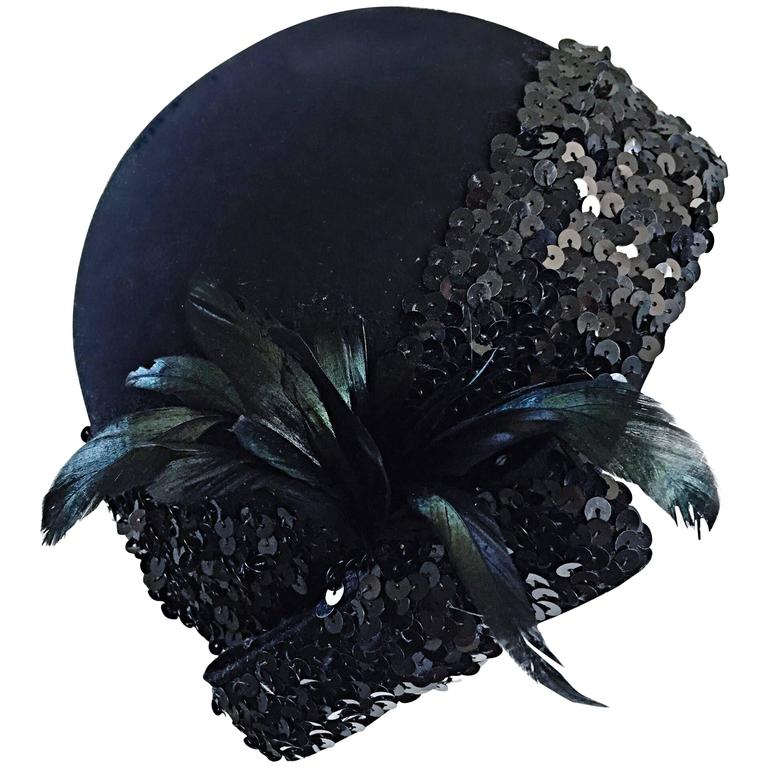 1960s Adolfo Black Sequin + Feather Vintage 60s does 20s Virgin Wool Cloche Hat  For Sale