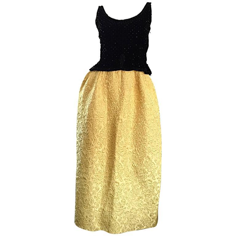 Amazing 1960s Bergdorf Goodman Beaded Black + Marigold Silk Brocade Evening Gown