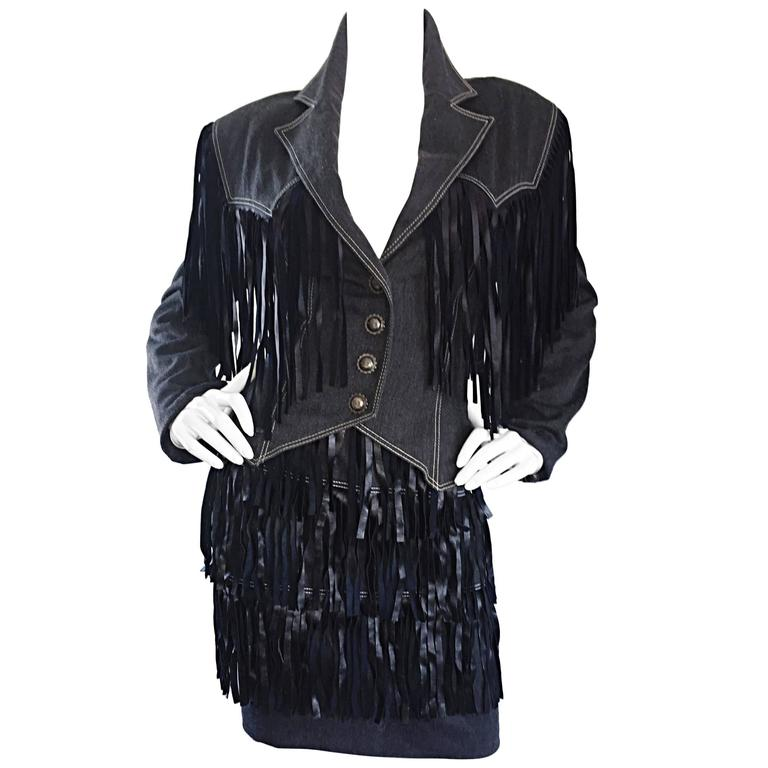 Vintage Patrick Kelly Denim and Leather Fringe Rare Skirt + Jacket Suit Ensemble For Sale