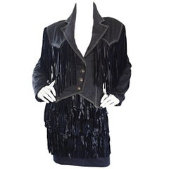 Vintage Patrick Kelly Denim and Leather Fringe Rare Skirt + Jacket Suit Ensemble