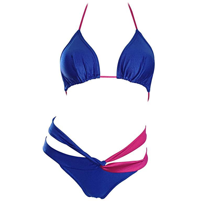 New 1990s Jean Louis Scherrer Vintage Fuchsia Pink & Blue Cut Out String Bikini