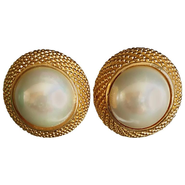Vintage Dior 1990s Signed Large Pearl Gold Dome Clip On 90s Earrings For