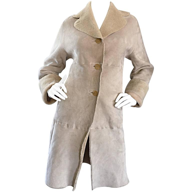 Vintage Giorgio Armani Unworn Shearling Taupe Beige Suede Leather Jacket Coat
