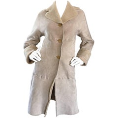 Vintage Giorgio Armani Unworn Shearling Taupe Beige Suede Leather Jacket Coat