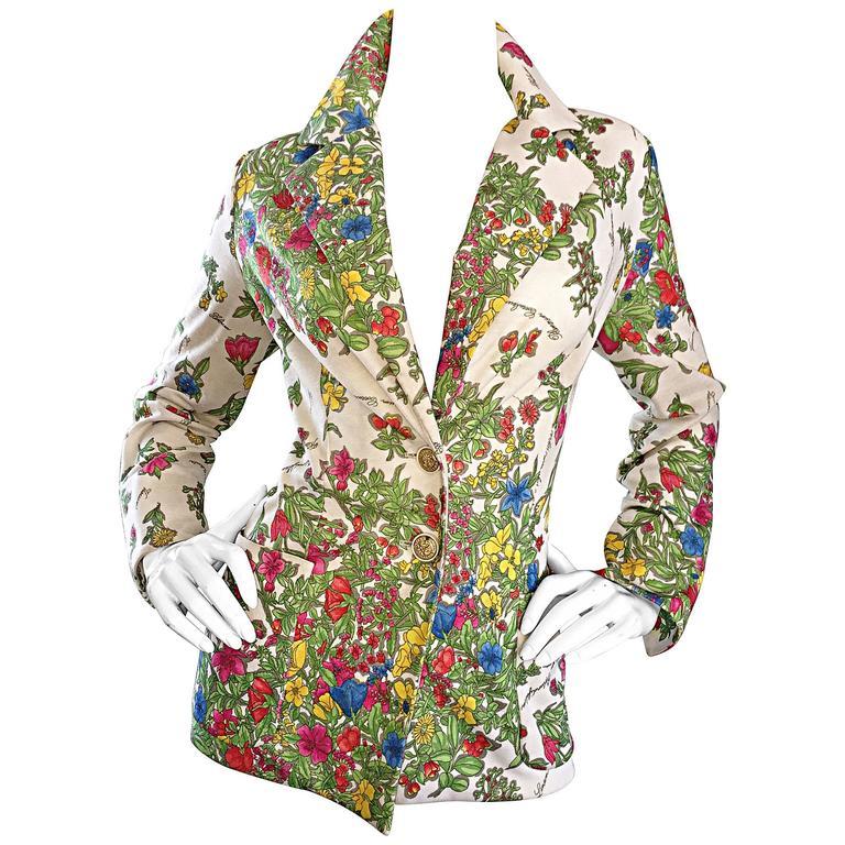 1970s Leslie Fay Knit Jersey Novelty Floral Garden Botanical Print Blazer Jacket For Sale