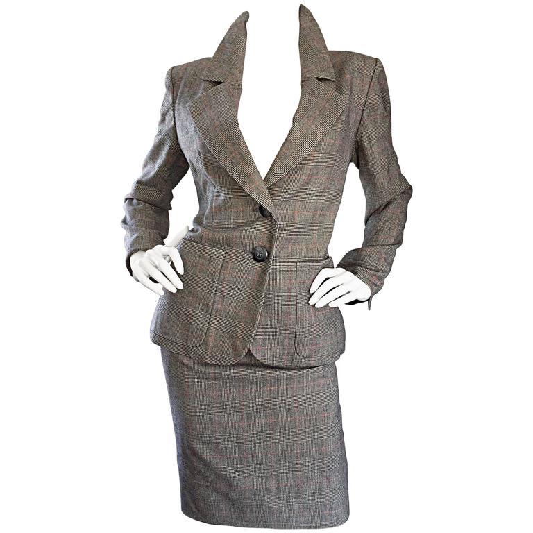 90ac368b287 Vintage Yves Saint Laurent Rive Gauche YSL Glen Plaid Le Smoking Skirt Suit  40 For Sale