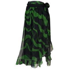 Yves Saint Laurent Black and Green Silk Chiffon Ruffle Trim Sash Skirt