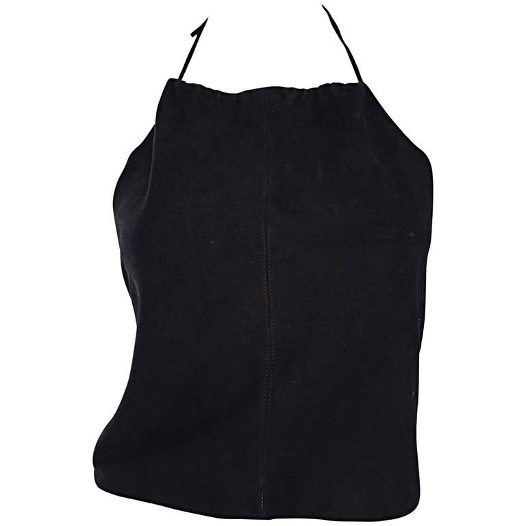 Gemma Kahng Vintage 1990s Black Suede Leather 90s Cropped Halter Top Shirt 1