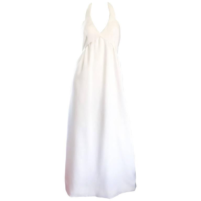 Mollie Parnis Vintage 1970s White Linen 70s Halter Neck Boho Maxi Dress