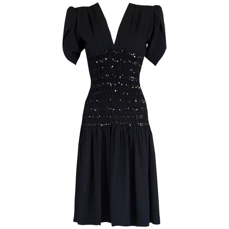 d706887e456 1980s Yves Saint Laurent Black Crepe and Sequin Waist Dress Documented For  Sale