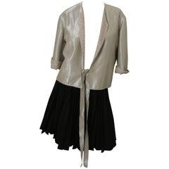 Chanel 3/4 Sleeve Blazer W/ Tweed Lining & Tie Closure