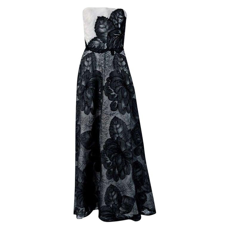 Vintage 1951 Hattie Carnegie Black White Lace Illusion Asymmetric Strapless Gown