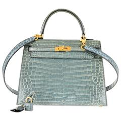 Hermes 25cm Kelly Crocodile Porosus Blue Jean Bag Gold Hardware JaneFinds