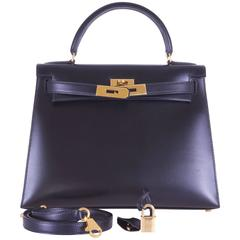 Hermes Kelly Bag 28cm Box with Gold hardware Stunning combo JaneFinds