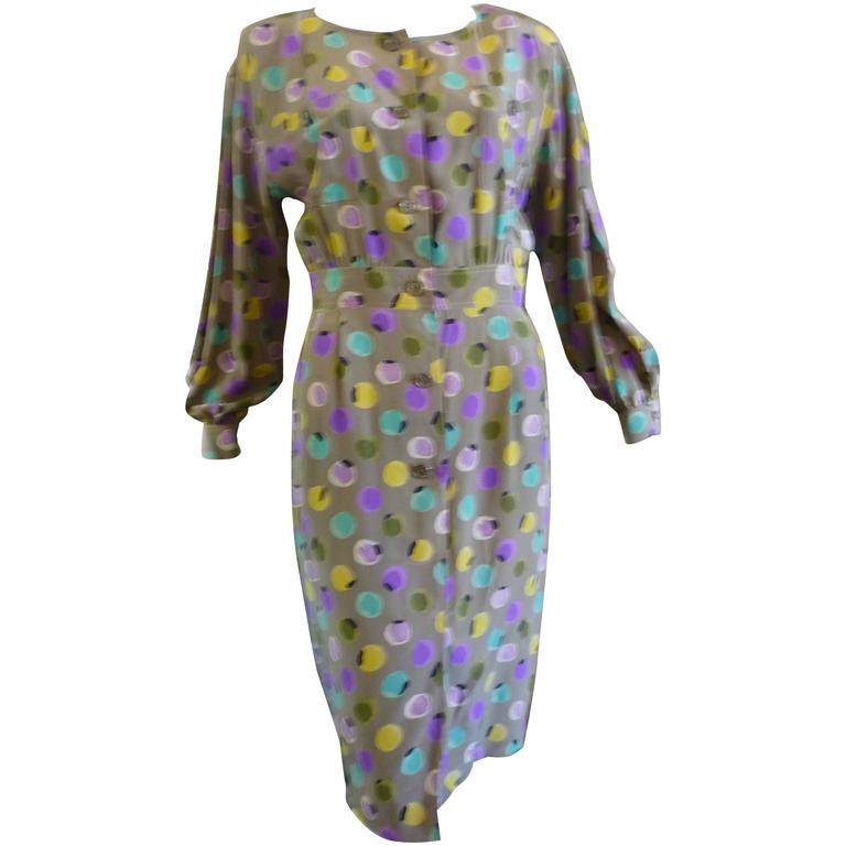 1990s Valentino Miss V Silk Dress (46 Itl) For Sale