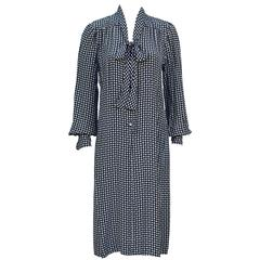 1970's Emanuel Ungaro Polka Dot Silk Day Dress With Bow