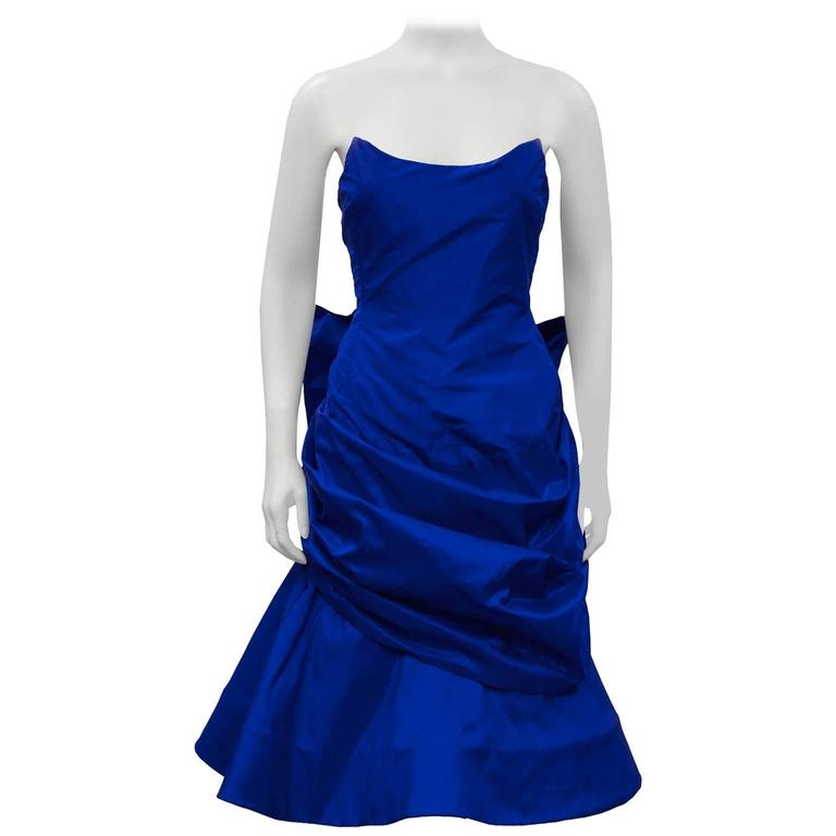 1980's Royal Blue Silk Taffeta Cocktail Dress With Back Bow and Crinoline For Sale